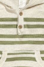 Fine-knit hooded jumper - Light beige/Striped - Kids | H&M CN 2