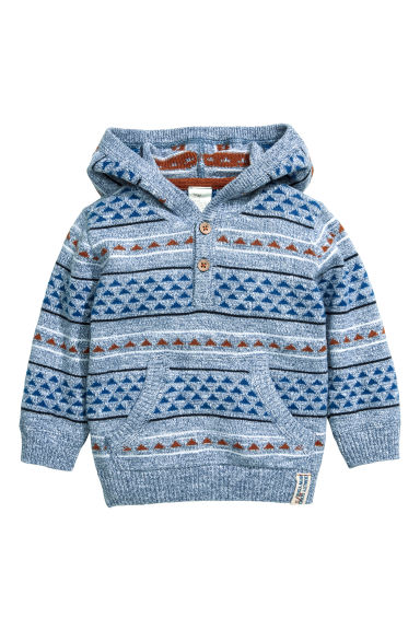 Fine-knit hooded jumper - Light blue/Patterned -  | H&M CN 1