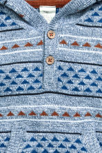 Fine-knit hooded jumper - Light blue/Patterned -  | H&M CN 2