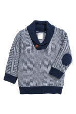 Jumper with a shawl collar - Dark blue/White - Kids | H&M CN 1