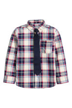 Shirt and tie - Dark blue/Checked - Kids | H&M CN 2