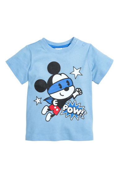 Printed T-shirt - Light blue/Mickey Mouse - Kids | H&M CN