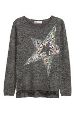 Knitted jumper with sequins - Dark grey/Star -  | H&M CN 2