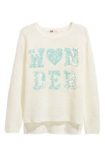 Knitted jumper with sequins - White - Kids | H&M CN 2