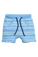 Sweatshirt shorts - Light blue/Patterned - Kids | H&M CN 1