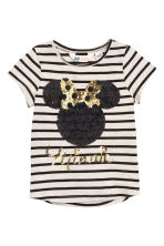 Top with sequined embroidery - Light beige/Minnie Mouse - Kids | H&M CN 2