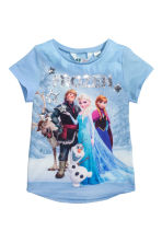 Top with sequined embroidery - Light blue/Frozen - Kids | H&M CN 2