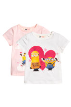 2-pack printed jersey tops - Light pink/Minions - Kids | H&M CN 2