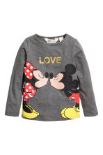 2-pack printed jersey tops - Dark grey/Minnie Mouse - Kids | H&M CN 3