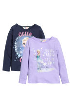 2-pack printed jersey tops - Dark blue/Frozen - Kids | H&M CN 2