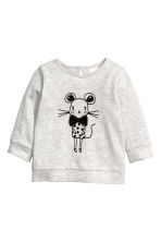Printed cotton jumper - Light grey/Mouse -  | H&M CN 1