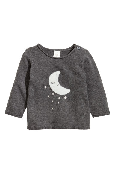 Jumper with appliqué - Dark grey/Moon - Kids | H&M CN 1