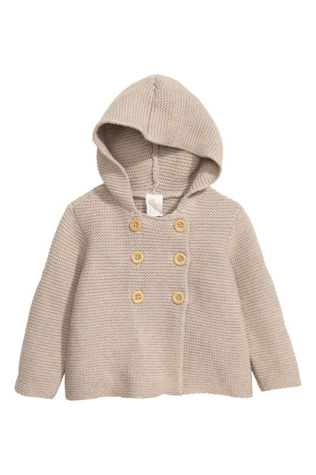Cotton cardigan with a hood