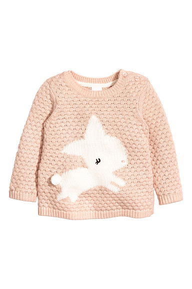 Jumper in a textured knit - Powder pink - Kids | H&M CN 1