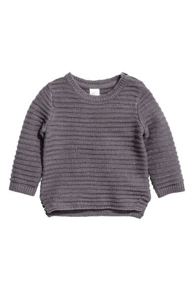 Jumper in a textured knit - Dark grey/Glittery - Kids | H&M CN 1