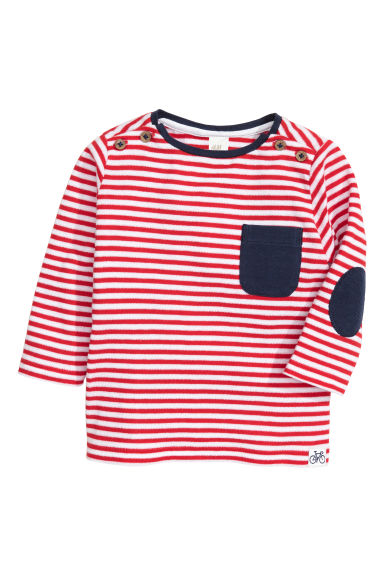 Long-sleeved T-shirt - Red/Striped -  | H&M CN 1