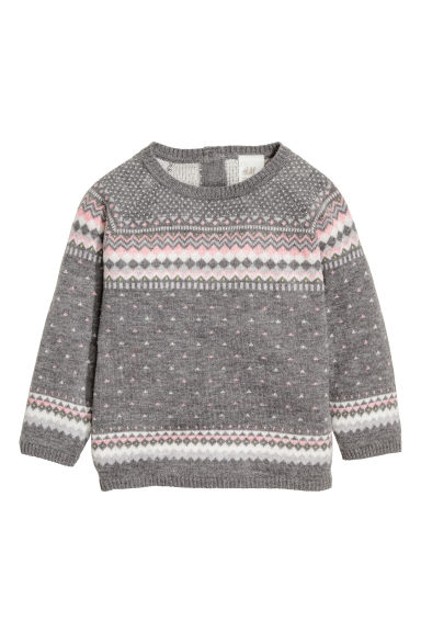 Jacquard-knit jumper - Dark grey - Kids | H&M CN 1