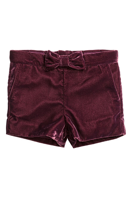 Short en velours scintillant