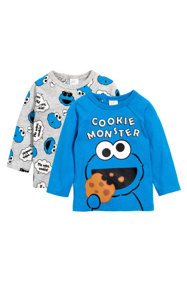 2-pack long-sleeved T-shirts - Light grey/Sesame Street - Kids | H&M CN 1