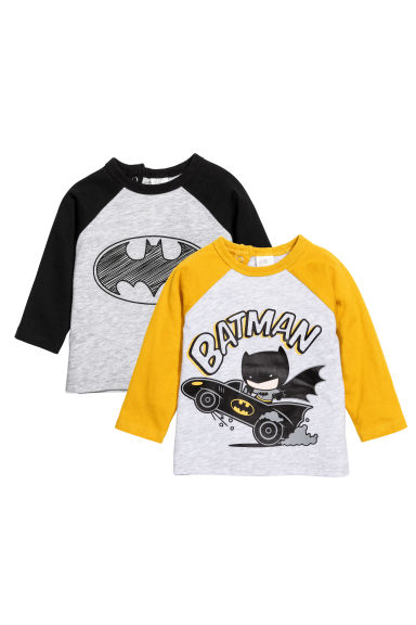 2-pack long-sleeved T-shirts - Light grey/Batman - Kids | H&M CN 1
