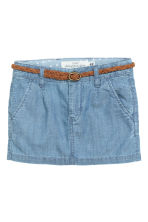 Skirt with a braided belt - Light denim blue - Kids | H&M CN 2