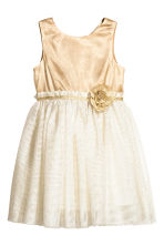 Glittery tulle dress - Natural white/Gold - Kids | H&M CN 2
