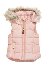 Padded gilet with a hood - Light pink - Kids | H&M CN 2