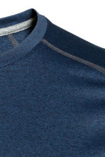 Short-sleeved sports top - Dark blue marl - Men | H&M CN 3