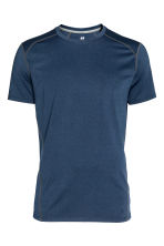 Short-sleeved sports top - Dark blue marl - Men | H&M CN 2
