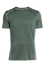 Short-sleeved sports top - Khaki green marl - Men | H&M CN 2