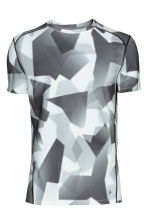 Short-sleeved sports top - Grey/Patterned - Men | H&M CN 2