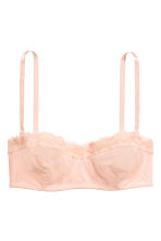 Lace and mesh bandeau bra - Powder pink - Ladies | H&M CN 2