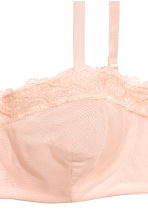 Lace and mesh bandeau bra - Powder pink - Ladies | H&M CN 3