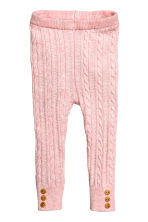 Cable-knit leggings - Light pink marl - Kids | H&M CN 1