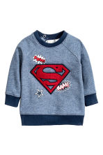 Printed sweatshirt - Blue/Superman - Kids | H&M CN 1