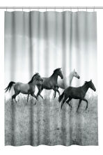 Photo print shower curtain - Grey/Horses - Home All | H&M CN 2
