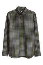 Shirt in cotton poplin - Khaki green/Checked - Men | H&M CN 2