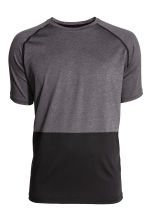Short-sleeved sports top - Dark grey/Black - Men | H&M CN 2
