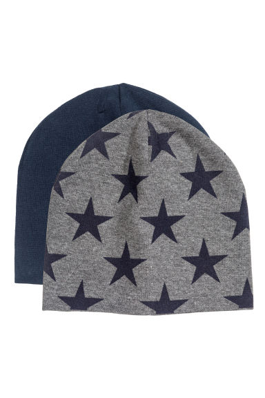 2-pack jersey hats - Dark grey/Stars - Kids | H&M CN 1