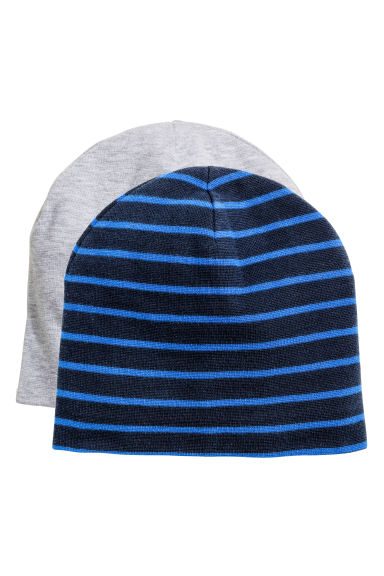2-pack jersey hats - Dark blue/Striped - Kids | H&M CN 1
