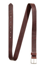 Narrow leather belt - Dark cognac brown - Men | H&M CN 3