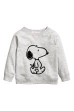 Sweatshirt with a motif - Grey/Snoopy - Kids | H&M CN 2