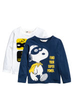 T-shirt maniche lunghe, 2 pz - Blu scuro/Snoopy - BAMBINO | H&M IT 2