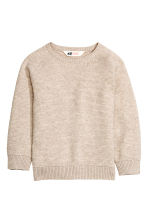 Fine-knit jumper - Light beige marl - Kids | H&M CN 2
