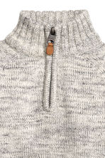 Knitted cotton jumper - Grey marl -  | H&M CN 3