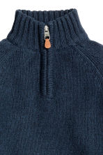 Knitted cotton jumper - Dark blue marl -  | H&M CN 3