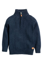Knitted cotton jumper - Dark blue marl -  | H&M CN 2