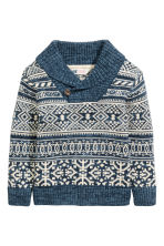 Shawl-collar jumper - Blue/Patterned - Kids | H&M CN 2