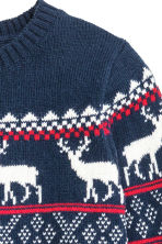 Jacquard-knit jumper - Dark blue/Reindeer - Kids | H&M CN 3