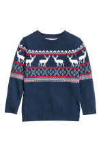 Jacquard-knit jumper - Dark blue/Reindeer - Kids | H&M CN 2